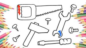 how to draw tools hammer saw spanner screwdriver drawing coloring