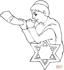 boy with shofar on rosh hashanah coloring page free printable