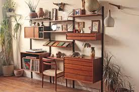 mid century modern desk bookcase living room ideas