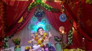 home ganpati decoration by using curtain curtains by sameer
