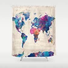 Map Of The World Shower Curtain by Atlas Shower Curtains Society6