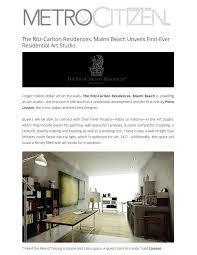 Designing An Art Studio The Ritz Carlton Residences Miami Beach Unveils First Ever