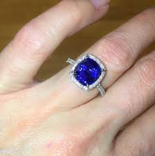 10mm diamond diamond sapphire halo engagement ring 18kt white gold micro pave