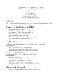 resume exle for server bartender good server resumes paso evolist co