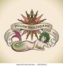 tattoo of a rose old school styled tattoo of a green hair mermaid on the background