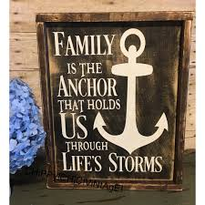 Anchor Home Decor by Family Sign Wood Family Sign Rustic Sign Family Is The