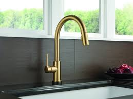biscuit deck mount brushed brass kitchen faucet two handle pull