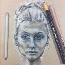 charcoal neocolor ii and inktense moongirl art