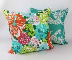 Lilly Pulitzer Home by Pillow In Lilly Pulitzer Heritage Floral In Aqua Orange
