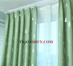 pine tree pattern fresh green polyester insulated kids curtains