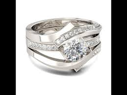 Jeulia Wedding Rings by Jeulia Interchangeable Bypass Round Cut Created White Sapphire