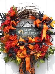 Halloween Wreaths Door Halloween Wreath Witch Wreath Fall Wreath Door Wreath Floral