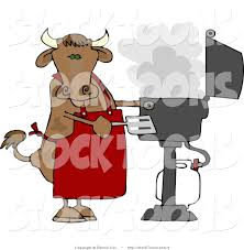 stock cartoon of a cow cook using a barbeque by djart 2