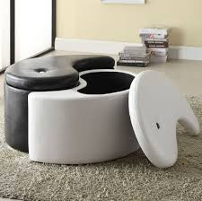 round leather coffee table cocktail table with storage ottomans grey leather ottoman small