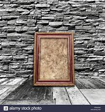 vintage and interior a room with a stone wall with