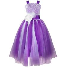 iefiel purple flower dress kids pageant wedding bridesmaid