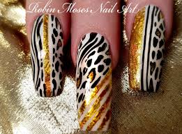 robin moses nail art long black and white animal print with gold