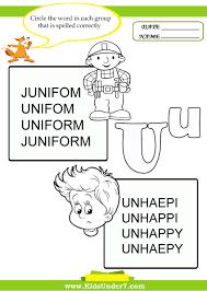 kids under 7 circle the correct spelling of u0027u u0027 words