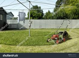 lawnmower tied clothesline create clever funny stock foto