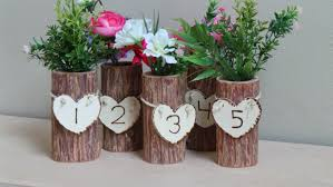 Rustic Vases For Weddings Rustic Wedding Decor Centerpieces Log Vase U0026 Table Diy Place