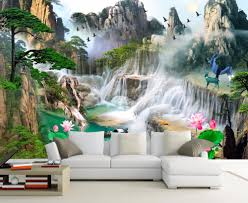 online buy wholesale 3d wall mural from china 3d wall mural 3d wall murals 3d wallpaper for living room bedroom tv sofa background wall waterfall forest landscape