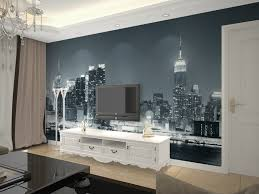 wallpaper for livingroom city mural wallpaper of modern living room large personality