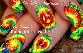 diy tie dye nails hippie rasta watercolor nail art design