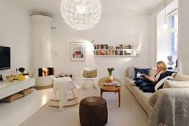 awesome white grey living room with cool wallpaper at swedish home