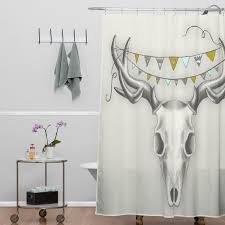 Deny Shower Curtains Deny Designs Wesley Bird Skull Shower Curtain U0026 Reviews Wayfair