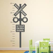 railroad crossing growth chart decal train crossing wall details the railroad crossing growth chart wall decal