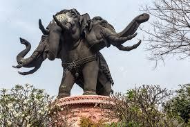 huge elephant statue building of the erawan museum bangkok