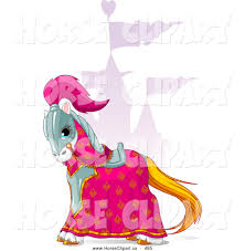 clip art of a beautiful pink and red knight pony horse and