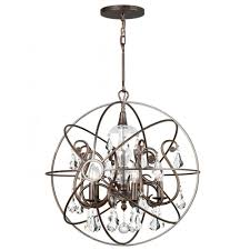Orb Light Fixture by Crystorama 9026 Eb Cl Mwp Crystal Accents Five Light Chandeliers