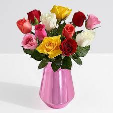 Long Stem Rose Vase One Dozen Long Stemmed Rainbow Roses