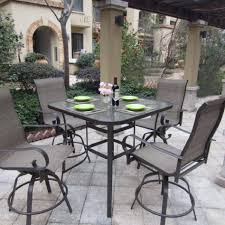 remarkable bar height patio set with swivel chairs 24 on