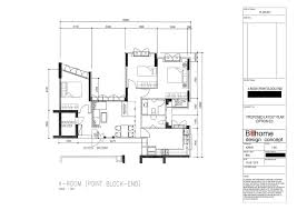 punggol 4 room hdb renovation part 2 floor plan 3d drawing