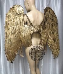 extra large gold angel wings cosplay dance costume rave bra samba