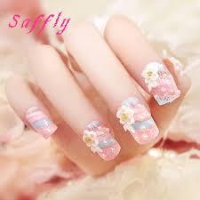 aliexpress com buy saffly 24pcs 3d wedding fingernails lovely