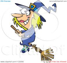 happy halloween clipart cartoon of a happy halloween good witch flying on a broom