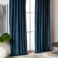 Turquoise Velvet Curtains Cotton Luster Velvet Curtain Nightshade West Elm