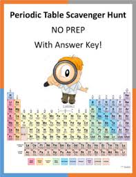 periodic table scavenger hunt answer key periodic table scavenger hunt no prep answer key by acme