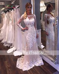 mermaid wedding dresses lace sleeves high cut wedding dresses