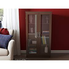 glass bookcase gray painted cupboard or bookcase with glass front