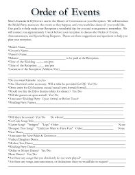 wedding reception itinerary wedding itinerary templates free wedding template projects to