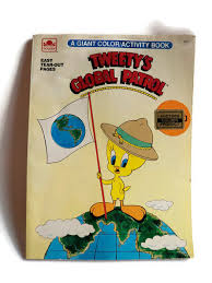 vintage childs coloring book tweety bird golden yellowmod