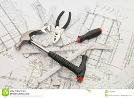 building tools on the house plan royalty free stock photos image