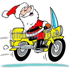 free drawing of a motorcycle santa from the category