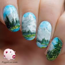 nail art inspired by a bob ross painting bob ross bobs and