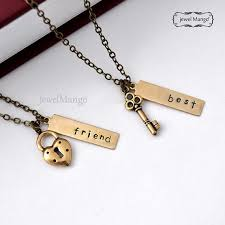 lock necklace with key images Best friend necklace friendship necklace bff key and lock jpg