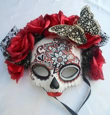 half skull mask halloween el dia de los muertos day of the dead red masquerade skull mask
